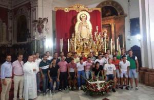El club palmerino y la Comisión del Centenario realizaron la tradicional ofrenda a la Virgen del Valle. / Foto: @LaPalmaCF.
