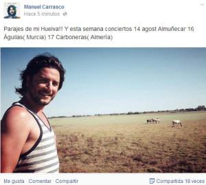 Post de Manuel Carrasco en Facebook.