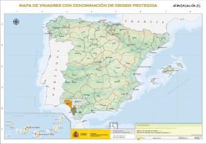 Mapa con los vinagres españoles con DOP.