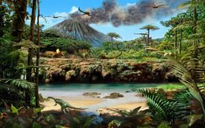 Recreación de un hábitat que gustaba a los dinosaurios.
