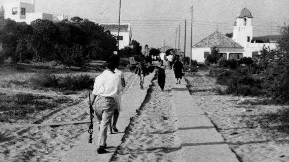 La calle Lepanto de Punta Umbría en los años sesenta del pasado siglo XX