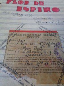 La célebre 'Flor de Espino' con el sello de la Sociedad General de autores.