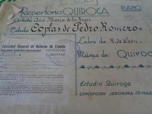 Partitura del maestro Quiroga con autorización para Ana María de los Reyes.