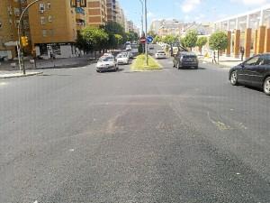 Imágenes del asfaltado de la avenida Fuerzas Armadas.