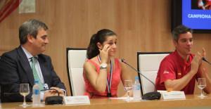 Carolina, emocionada durante la rueda de prensa en el CSD. / Foto: @deportegob.