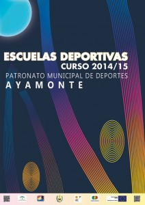 Cartel anunciador de las Escuelas Deportivas en Ayamonte.