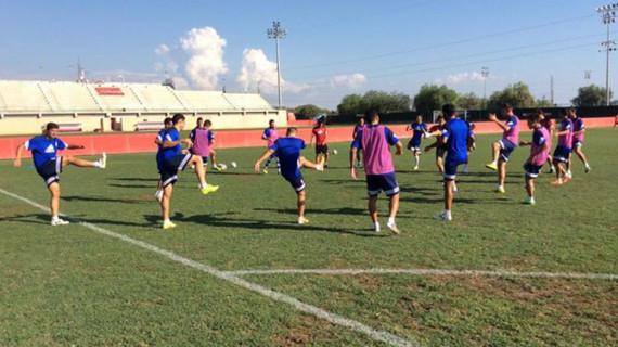 El Recreativo se entrena durante algo más de una hora en la Ciudad Deportiva del Mallorca