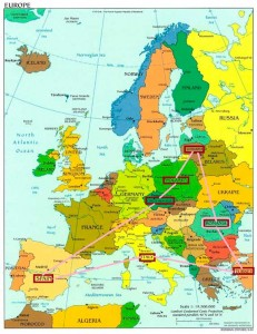 Mapa de los países participantes en el proyecto.