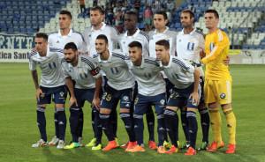 Formación inicial del Recre, con muchos jugadores no habituales. / Foto: Josele Ruiz.