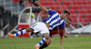 Montoro, pese al golpe sufrido en el partido ante el Mallorca, podrá jugar el sábado. / Foto: www.recreativohuelva.com.