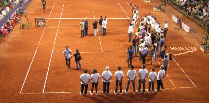 Momento del homenaje a Pepe García Requena, en la previa a la final de la Copa del Rey de Tenis. / Foto: P. C.