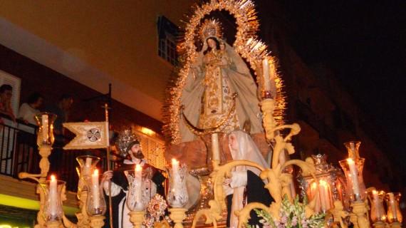 La procesión de la Virgen del Rosario Gloriosa pone fin a los cultos de octubre en la Hermandad de la Sagrada Cena