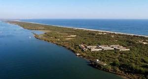 Imagen aérea de la Almadraba de Nueva Umbría.