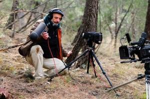 Uno de los técnicos, Carlos Hita, grabando el sonido. / Foto: Herminio M. Muñiz.