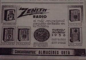 Anuncio insertado en el diario Odiel de los modelos de radio que se vendían en Huelva en los años treinta. / Foto: Archivo Diputación Huelva.