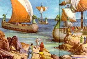 Dibujo bíblico de las naves de Tarsis. / Foto: www.dibujosbiblicos.net