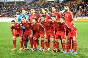 España en el primer compromiso oficial de la selección en la capital onubense. / Foto: Josele Ruiz.