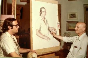 Gomez Feu con el retrato que hizo a Florencio Aguilera.