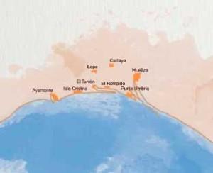 Mapa de los municipios pesqueros en los se centraliza este patrimonio. / Guía patrimonio cultural pesca de Andalucía.