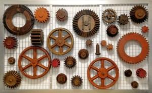 Engranajes de la colección de moldes de madera para fundición de las minas de Tharsis. / Foto: E. Molero y M. Santofimia.