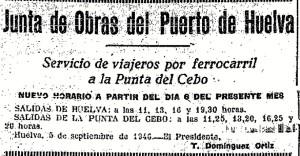 Anuncio del horario del tren de la Punta del Cebo (Sebo) en la prensa de la época.
