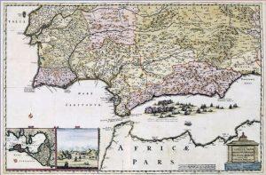 Mapa de Andalucía en el siglo XVIII.