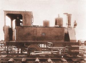 Una de las locomotoras utilizadas para el ferrocarril de la Punta del Sebo. / Foto: APH.