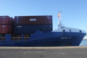 """El moderno """"Huelva"""" recuperó la histórica línea regular Huelva-Rotterdam, a finales de 2013."""