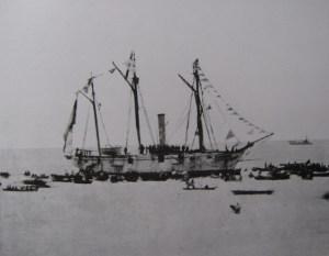 """La """"Covadonga"""", buque gemelo de la goleta de hélice """"Huelva""""."""