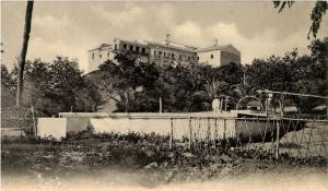 Perspectiva del Monasterio de La Rábida publicada por Photoglob Zurich en 1901, tras las restauraciones de 1892