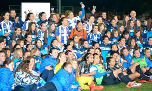 El equipo onubense, con la I Copa de Andalucía.