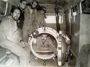 El primer grupo de buceo de los bomberos de Huelva. Corría el año 1975.