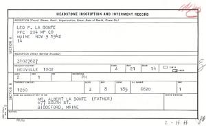 Ficha con los datos de Leo Paul La Bonte en el cementerio de Neuville (Records of the American Battle Monuments Commission. Record Group 117, serie A1 43).
