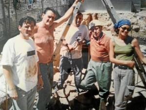 Con miembros de la empresa 'Ánfora'.