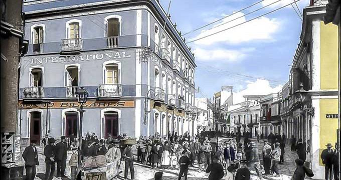 Gran Hotel Internacional situado en el cruce de las calles Sagasta y Carmen de Huelva a principios de la segunda década del siglo XX