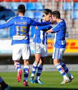 Momento de la celebración del gol de Pedro Rios en Soria. / Foto: www.lfp.es.