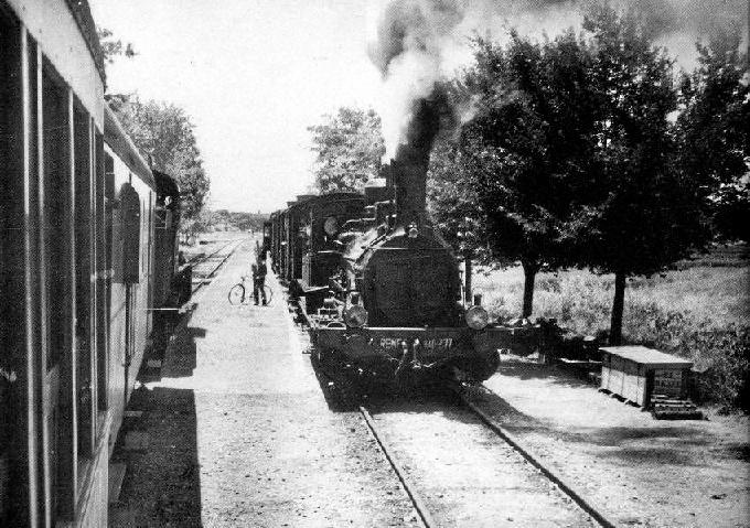 Tren Omnibus Ayamonte-Huelva en La Redondela, años 60 del siglo XX