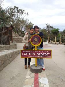 En Mitad del Mundo, al norte de Quito, en Ecuador.