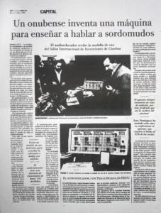 El desaparecido diario 'La voz de Huelva' se hizo eco del invento del onubense en 1996.