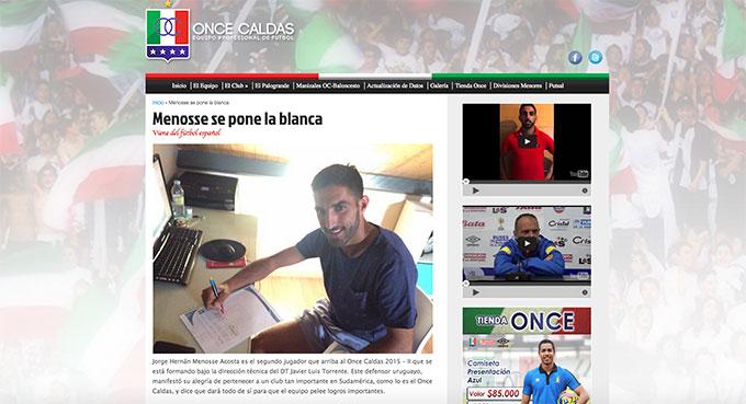 La web oficial del Once de Caldas recoge el fichaje de Menosse, que se va muy agradecido a Huelva.
