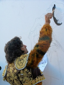 Morante, pintando el mural.