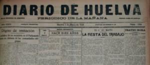 Portada del Diario de Huelva, uno de los periódicos que se mostró favorable a la construcción de la vía. / Foto: Mari Paz Díaz.