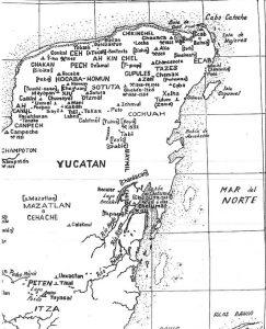 Mapa de la ciudades mayas en la península de Yucatán. / Fuente: libro 'Conquista y Descubrimiento de Yucatán', de Robert S. Chamberlain.