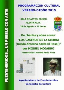Cartel de la charla en Fuenteheridos.