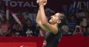 Carolina Marín, feliz tras ganar el partido a la coreana. / Foto: Captura TV.
