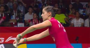 La onubense en el momento de sacar en el inicio del partido. / Foto: Captura TV.
