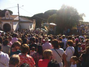 Imagen del traslado de la Virgen de Montemayor.