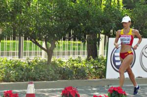 Laura García-Caro, durante la prueba en Pekín. / Foto: www.foroatletismo.com.