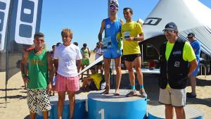 Podio en la categoría masculina de la prueba atlética celebrada en Punta Umbría.