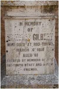 Tumba de Nicholas Gilbert en el cementerio británico de Huelva, junio de 2015. Foto: Emilio Romero.
